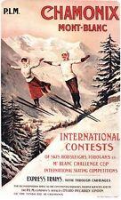 Vintage Eduardiano Chamonix Esquí Salto de competencia cartel A3/A2/A1 impresión