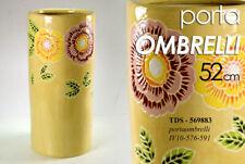 Portaombrelli Cilindrico Ceramica H50cm Giallo Deco Fiori Ingresso Iv10-576/591