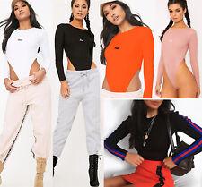Womens Long Sleeves Bodysuit Waist Cut Leotard Bodycon Casual Basic Top T-shirt