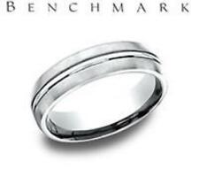 Benchmark Light Comfort Fit Satin Center Cut Mens Wedding Band