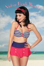Femme sexy hot maillot de bain bandeau bikini jupe rouge vintage lignes uy 12904