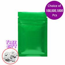 2.25*3.5in Glossy Mylar Foil Green Ziplock Bag w/ Silica Gel Desiccant B04