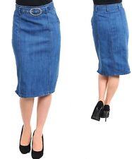 WOMENS Jeans Denim skirt pencil wide waist belted metal knee length  Boho Chic!
