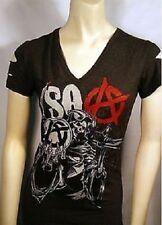 Sons Of Anarchy Soa Reaper Globe Gun Soa Laser Cut Charcoal Juniors Shirt S-Xl