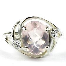 • SR021, 10x8mm 3.3 ct, Rose Quartz, 925 Sterling Silver Ladies Ring -Handmade