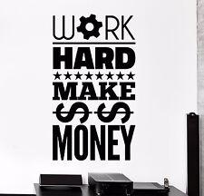 Vinyl Wall Decal Work Hard Make Money Motivation Inscription Stickers (908ig)