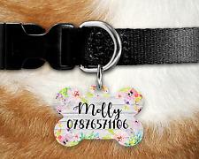 Personalised Pet Tag-ID Tag-DOG TAG-Bone Tag-Acquerello Fiori Legno 1