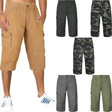 MENS PLAIN SHORTS CARGO COMBAT CASUAL SUMMER BEACH 100% COTTON POCKETS 3/4 PANTS