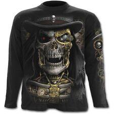 Spiral STEAM PUNK REAPER Long Sleeve T-Shirt, Goth Rock Biker Death Metal Tattoo