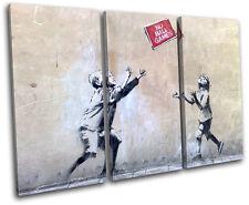 No Ball Games Banksy Street TREBLE CANVAS WALL ART Picture Print VA