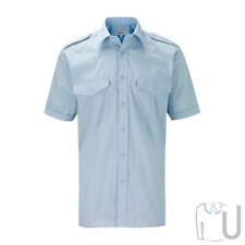 Mens Pilot/Security Shirt Long & Short Sleeve White or Sky Blue