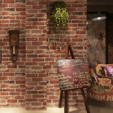 1M Faux Brick Wallpaper Rustic Vintage Damask Roll PVC Loft Decal Home Decor