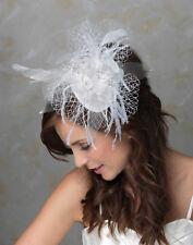 BK31 Braut Haarschmuck Fascinator Hochzeit Blumen Feder Gesichtsschleier Netz