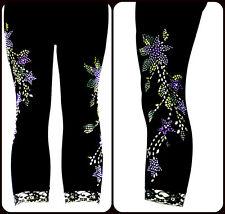 Plus Size Capri Leggings Embellished Lavender Floral Silver Stud Design