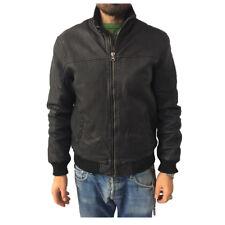 D'AMICO chaqueta hombre negro mod NUEVO FREDD DGU0233 100%piel guarnición 100%