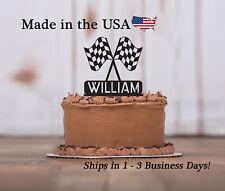 Racing Birthday Topper, Checkered Flag, Race Car, Mans Birthday Keepsake-LT1200