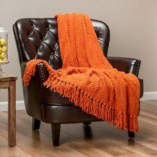 Chanasya Super Soft Textured Knit Throw Blanket with Tassels Decorative Blanket