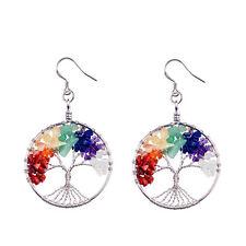 Natural 7 Chakra Tree Of Life Hook Earrings Crystal Gemstone Beads Dangle Hoops