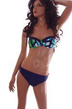 Womens adidas Blue TEAL 2 Piece BIKINI Bathing Suit Bandeau Halter 6 14 16 NEW