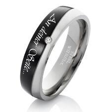Verlobungsring Damenring mit echtem Diamant Ring aus Edelstahl Lasergravur ES21