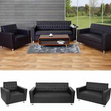 3-2-1 Sofagarnitur Kunda, Couch Loungesofa Kunstleder, Metall-Füße