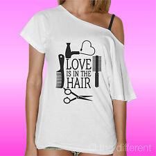 T-Shirt Donna Barca Love Is In The Hair Parrucchieri Idea Regalo