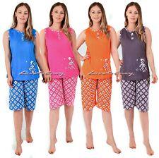Ladies Womens Cotton Rich Sleeveless Teddy Cosy Nightwear Pyjama Set PJ's S-XXL.