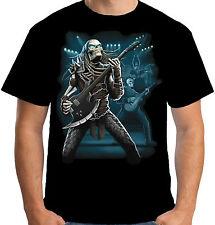 Velocitee Mens Predator Guitarist T Shirt Skeleton Skull Guitar Alien A15031