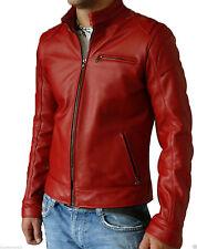 Men's Genuine Lambskin Leather Jacket Red Slim fit Biker Motorcycle jacket-24