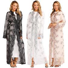 Dubai Muslim Women Kimono Sequins Abaya Embroidery Cardigan Jilbab Maxi Dresses