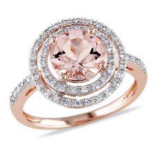 Amour 10k Rose Gold Morganite and 1/4 Ct TDW Diamond Cocktail Ring H-I I2-I3
