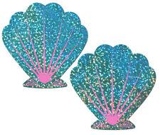 Mermaid: Liquid Seafoam Green and Pink Seashell Nipple Pasties by Pastease o/s