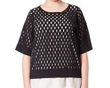 MARINA RINALDI Women's Black Arpa Cutout Front Sweater $785 NWT