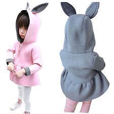 Cute Baby Girls Hooded Rabbit Long Coat Kids Cotton Jacket Outwear Corea Clothes