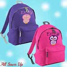 Embroidered Owl Personalised Rucksack, Junior School Bag, Backpack,  Schoolbag