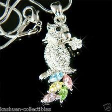 ~RAINBOW PARROT w Swarovski Crystal Macaw COCKATIEL bird Flower Pendant Necklace
