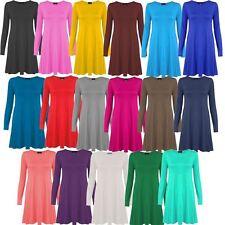 Haut femme à manches longues hanky hem taille plus femmes flare swing jersey genou robe 8-26