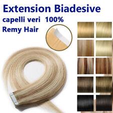 100 GRAMMI 40 ciocche EXTENSION BIADESIVE REMY HAIR capelli umani VERI 100% 53cm