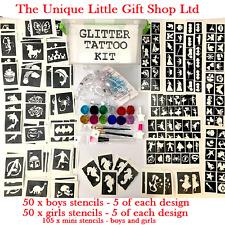 GLITTER TATTOO KIT boy girl 205 stencil 12 glitter storage box or refill stencil