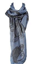 PSV03 – Echarpe Longue Automne Hiver Uni Motif Paisley et Arabesque – Mode Femme