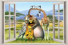 Adesivi da parete Finestra Effetto 3D MADAGASCAR decorazioni murali 15