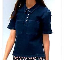 NWT Designer ASOS  Polo Shirt in Heavy Structred Denim  French Indigo