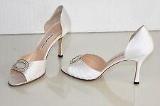 $785 NEW MANOLO BLAHNIK SEDARABY 90 White Satin JEWELED SHOES 41 Wedding Bridal
