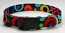 Geometric Circles on Black Retro Dog Collar Adjustable Handmade Custom Designer