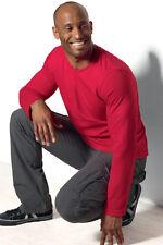 HANES Tagless Uomo Cotone Tinta Unita Rosso Long Sleeve Tee T-Shirt S-3XL Senza Logo
