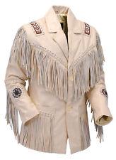 Women Cowboy Cream Cowhide Leather Jacket Ladies Fringes & Beads Western Wear