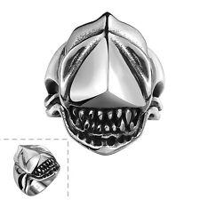 Stainless Steel  Gothic Biker Tribal Ring Black Men's Unisex Alien Teeh B198