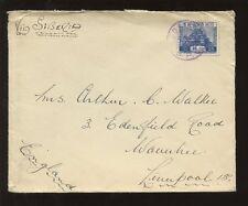 Cina GIAPPONE P.O Sud manchuria 1935 dairen a Liverpool marittima GLEN linea ENV.