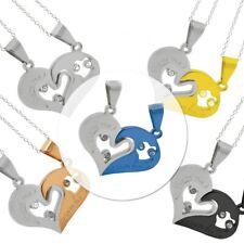 2x Silberketten 925er Silber Halskette + Kettenanhänger Herz Freunde Liebe Stahl