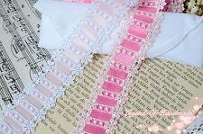 2Y Beautiful Venise Venice Beading Insertion Lace Trim~White/Pink~Shining Smile~